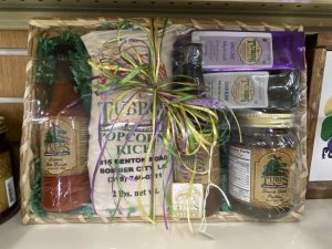Locally created gift basket full of unique gifts by Tubbs Hardware